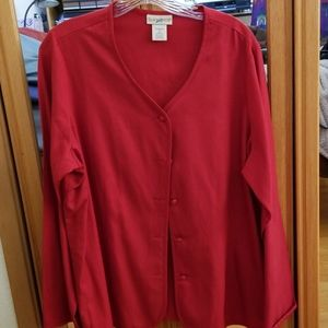 Long Sleeve Red Blouse in Cotton  and Silk